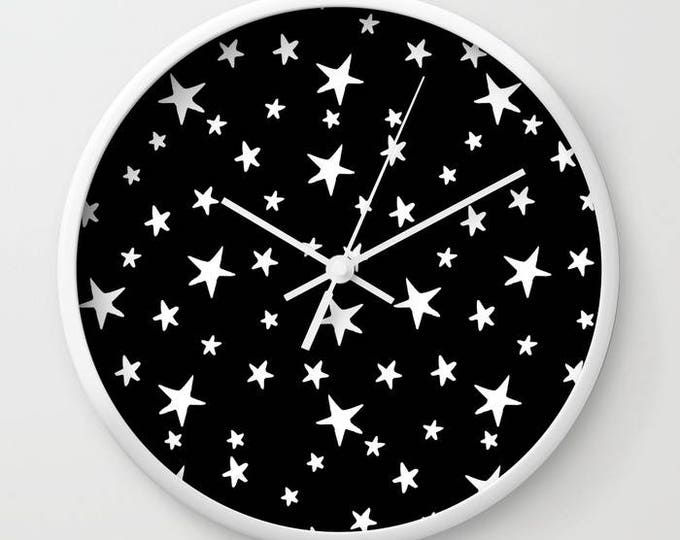 Wall Clock - Star Print - White on Black - Choose Frame & Hand Colors - Bedroom Decor Accessories Dorm Nursery Playroom