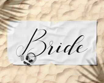 Oversized Beach Towel - Bride - Black on White - Bundle with a Tote and Pouch!