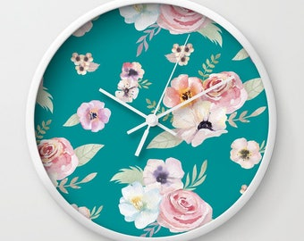Wall Clock - Watercolor Floral I - Teal Turquoise Pink - Choose Frame & Hand Colors - Bedroom Decor Accessories Dorm Nursery Playroom