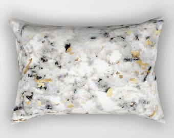 Lumbar Throw Pillow - Classic Marble with Gold Specks - Black White Gold - Rectangle Cover and Insert - 17x12 20x14 25.5x18 28x20