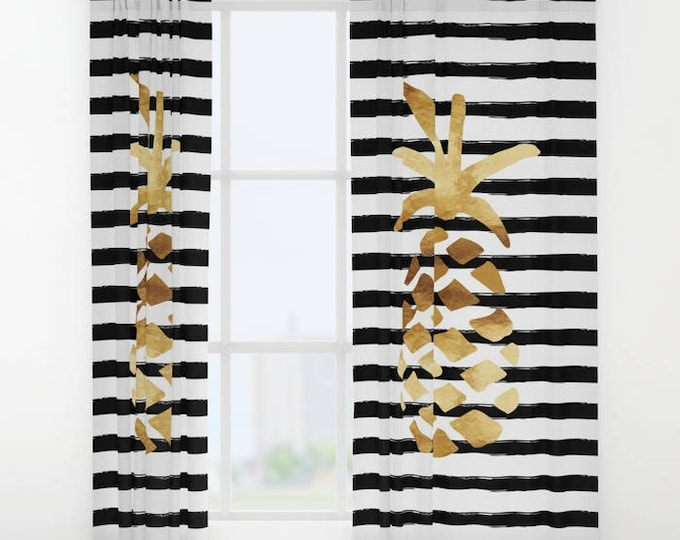 """Window Curtains - Pineapple and Stripes - Gold Black and White - 50"""" x 84"""" - Rod Pocket - Bedroom Decor Accessories Kids Nursery Playroom"""