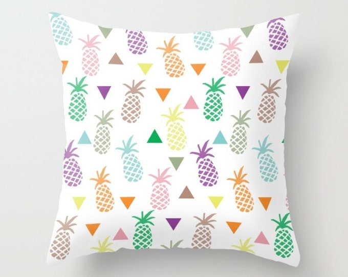 Throw Pillow - Multi Colored Pineapple & Triangles Print - Rainbow Pastels - Square Cover with Insert - 16x16 18x18 20x20 24x24