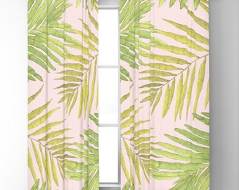 "Window Curtains - Palms Against Blush - Pink Green Yellow - 50"" x 84"" or 96"" Length - Blackout or Sheer Rod Pocket- Bedroom Nursery Playroom"