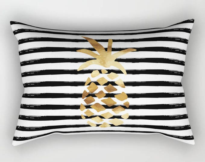 Lumbar Throw Pillow - Pineapple and Stripes - Gold Black and White - Rectangle Cover and Insert - 17x12 20x14 25.5x18 28x20