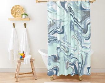 "Shower Curtain - Pastel Marble Blues - Blue Gray Mint Aqua - 71""x74"" - Bath Curtain Bathroom Decor Accessories - Optional Bath Mat!"