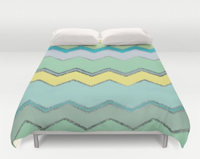 Duvet Cover or Comforter - Multi Chevron and Brushed Silver - Green Blue Yellow - Twin XL Full Queen or King - Bedroom Bed