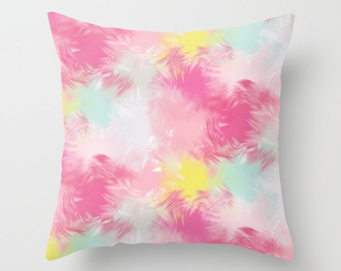 Throw Pillow - Blurred Blend Pattern - Pink Yellow Mint Gray - Square Cover with Insert - 16x16 18x18 20x20 24x24