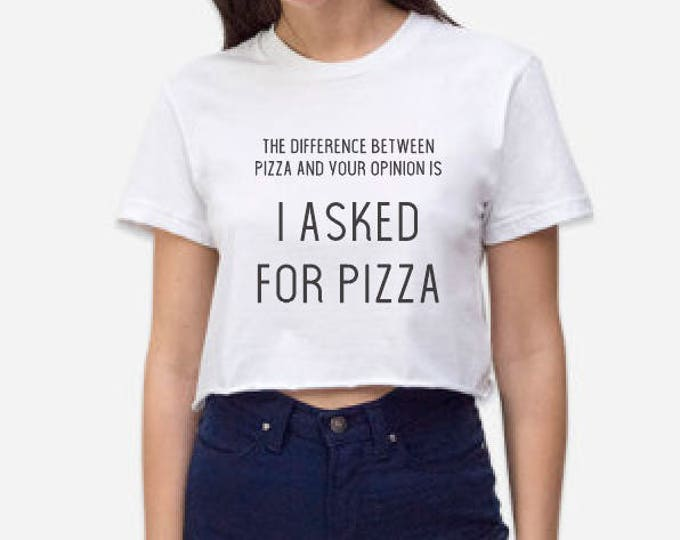 I Asked for Pizza Crop Top Graphic Tee - Black Ink on White - LA Apparel 2332 Crop Top - Workout Yoga Barre