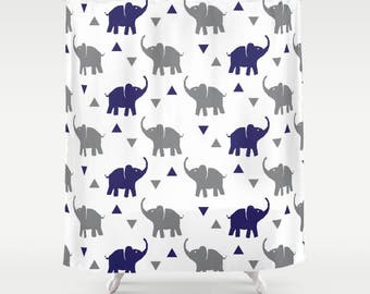 "Shower Curtain - Elephants & Triangles Print - Gray and Navy Blue - 71""x74"" - Bath Curtain Bathroom Decor Accessories - Kids Boys"