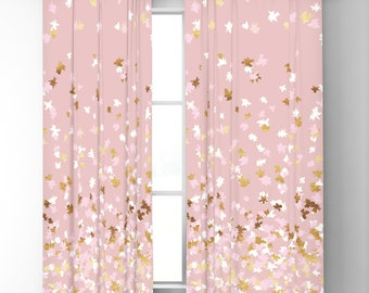 "Window Curtains - Floating Confetti Dots - Pink Blush White Gold - 50"" x 84"" or 96"" Length - Blackout or Sheer - Bedroom Nursery Playroom"