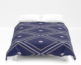 Duvet Cover or Comforter - Navajo Pattern - Navy Blue White Tan - Twin XL Full Queen or King - Bedroom Bed - Shams Optional