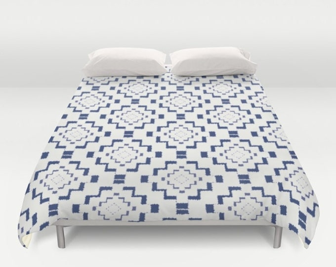 Duvet Cover or Comforter - Rough Geometric Aztec Print - Navy Blue White - Twin XL Full Queen or King - Bedroom Bed