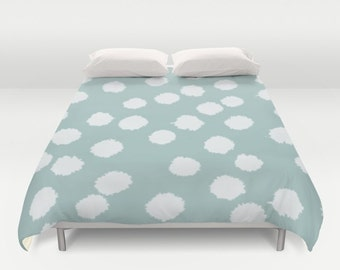 Duvet Cover or Comforter - Fuzzy Polka Dots - White on Raisin, Robin's Egg, Peach or Dark Gray - Twin XL Full Queen or King - Bedroom Bed