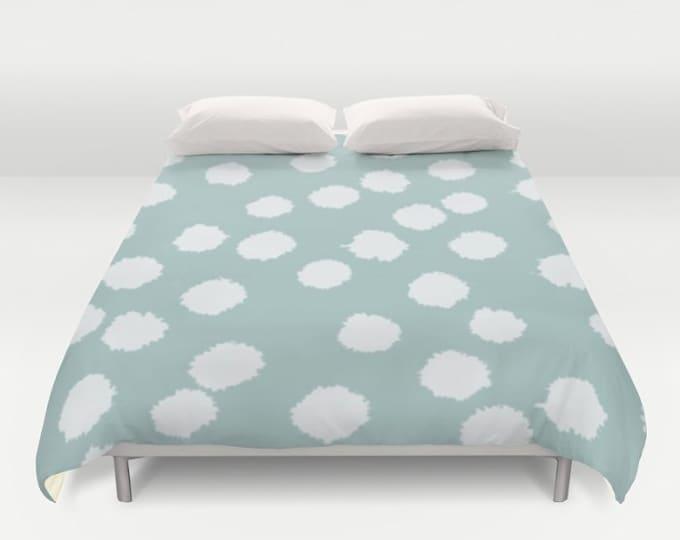 Duvet Cover or Comforter - Fuzzy Polka Dots - White on Raisin, Robin's Egg, Peach or Dark Gray - Twin XL Full Queen or King - Bedroom Bed