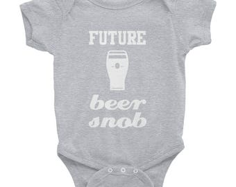 Future Beer Snob - Beer Glass Graphic - Funny Baby One Piece Bodysuit - White Ink - Black Gray or Pink