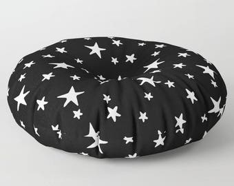 """Oversized Floor Pillow - Star Print - White on Black - Round or Square - 26"""" or 30"""" - Throw Poof Pouf Cushion"""
