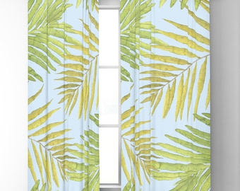 "Window Curtains - Palms Against The Sky - Blue Green - 50"" x 84"" or 96"" Length - Blackout or Sheer - Rod Pocket - Bedroom Nursery Playroom"