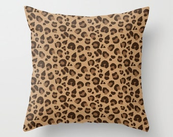 Throw Pillow - Leopard Spots - Classic Brown Tan Camel - Square Cover with Insert - 16x16 18x18 20x20 24x24