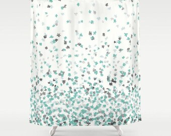 "Shower Curtain - Floating Confetti Dots - Mint Aqua Silver Cream White - 71""x74"" - Bath Curtain Bathroom Decor Accessories"