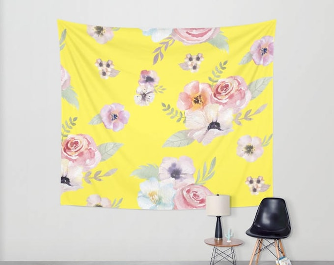 Wall Tapestry - Watercolor Floral I - Bright Yellow Pink - Small Medium or Large - Bedroom Decor Accessories Dorm Nursery Playroom