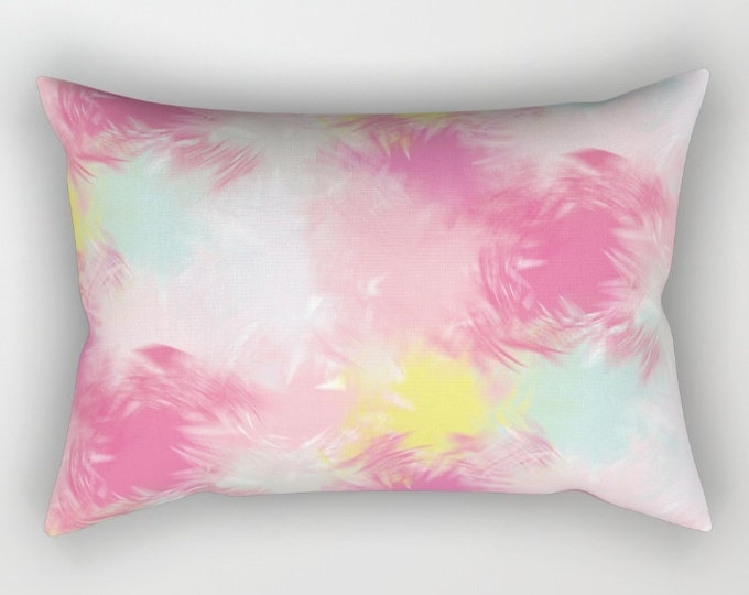 Lumbar Throw Pillow - Blurred Blend Pattern - Pink Yellow Mint Gray - Rectangle Cover and Insert - 17x12 20x14 25.5x18 28x20
