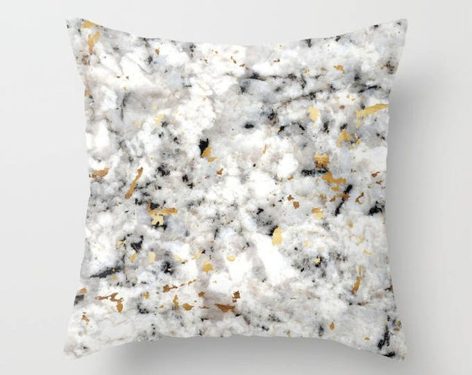 Throw Pillow - Classic Marble with Gold Specks - Black White Gold - Square Cover with Insert - 16x16 18x18 20x20 24x24