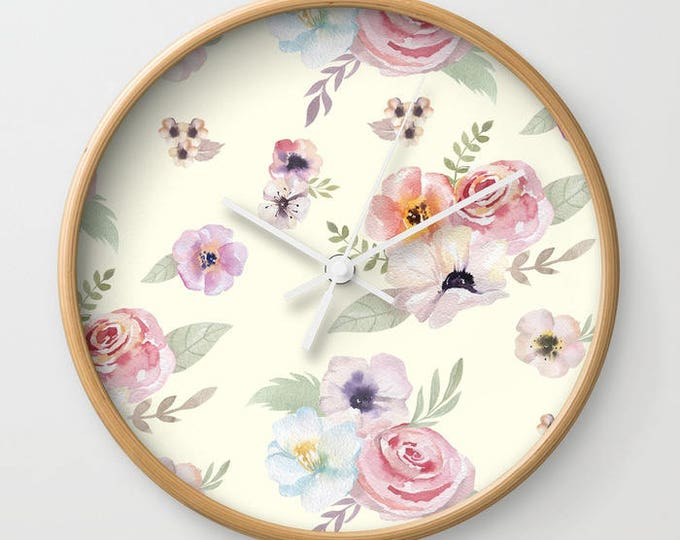 Wall Clock - Watercolor Floral I - Cream Ivory Pink - Choose Frame & Hand Colors - Bedroom Decor Accessories Dorm Nursery Playroom