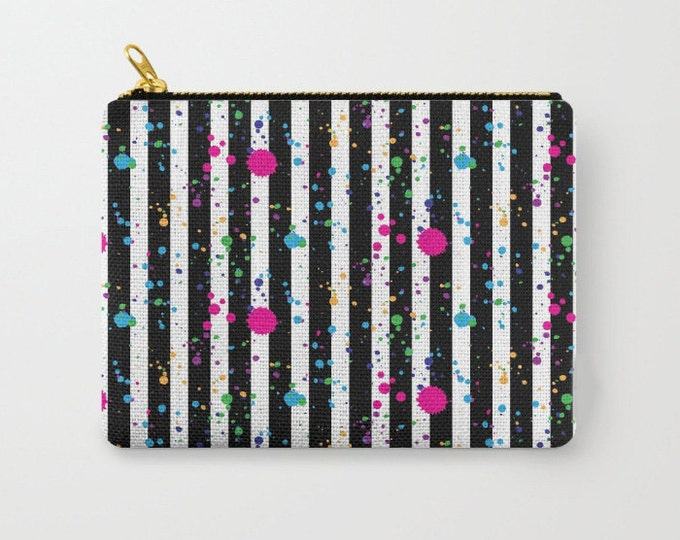 Zipper Pouch - Stripes and Paint Splatter - Black White Neon Rainbow - 3 Sizes Available