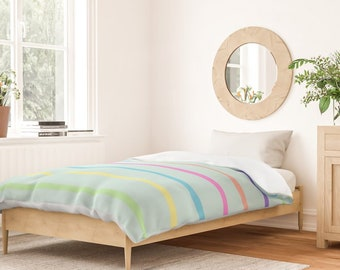 Duvet Cover or Comforter - Rainbow Stripes - Mint Blue Pink Green - Twin XL Full Queen King - Microfiber or 100% Cotton - Shams Optional