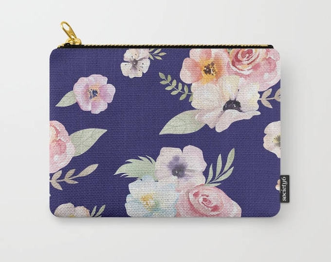 Zipper Pouch - Watercolor Floral I - Navy Blue Pink - 3 Sizes Available - Carry All Clutch Bag Cosmetic Case Makeup