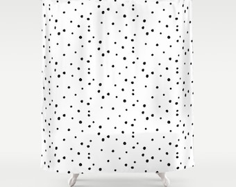 "Shower Curtain - Dalmatian Polka Dots - White Black - 71""x74"" - Bath Curtain Bathroom Decor Accessories - Optional: Bundle with a Bath Mat!"