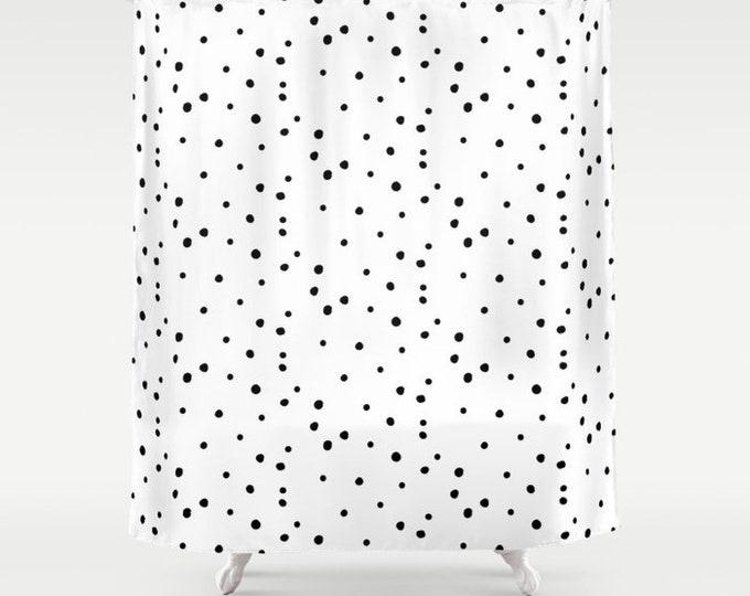 """Shower Curtain - Dalmatian Polka Dots - White Black - 71""""x74"""" - Bath Curtain Bathroom Decor Accessories - Optional: Bundle with a Bath Mat!"""
