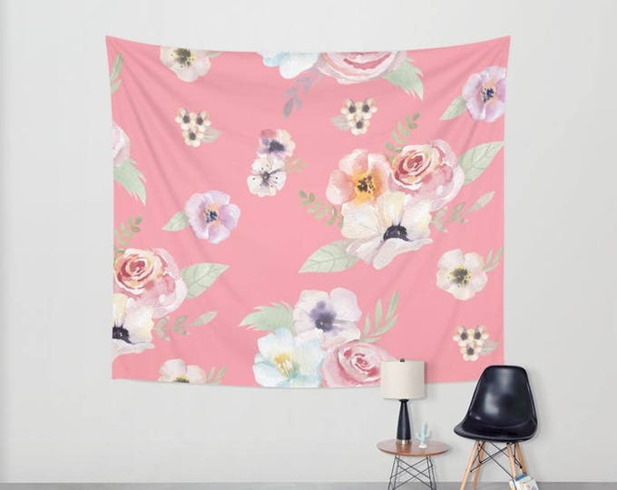 Wall Tapestry - Watercolor Floral I - Bright Pink - Small Medium or Large - Bedroom Decor Accessories Dorm Nursery Playroom