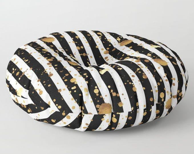 "Oversized Floor Pillow - Stripes and Paint Splatter - Black White Gold - Round or Square - 26"" or 30"" - Throw Poof Pouf Cushion"