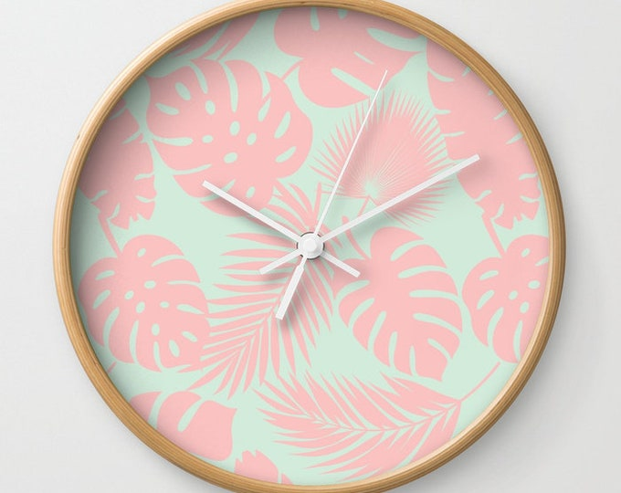 Wall Clock - Tropical Leaves - Blush on Aqua - Choose Frame & Hand Colors - Bedroom Decor Accessories Dorm Nursery Playroom