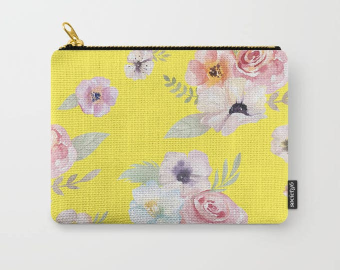 Zipper Pouch - Watercolor Floral I - Bright Yellow Pink - 3 Sizes Available - Carry All Clutch Bag Cosmetic Case Makeup