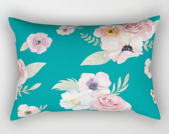 Lumbar Throw Pillow - Watercolor Floral I - Teal Turquoise Pink - Rectangle Cover and Insert - 17x12 20x14 25.5x18 28x20