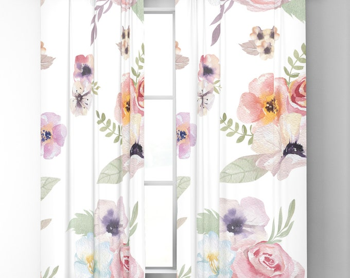 "Window Curtains - Watercolor Floral I - White Pink - 50"" x 84"" or 96"" Length - Blackout or Sheer - Rod Pocket - Bedroom Nursery Playroom"