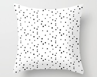 Throw Pillow - Dalmatian Polka Dots - White and Black - Square Cover with Insert - 16x16 18x18 20x20 24x24