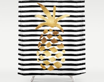 """Shower Curtain - Pineapple and Stripes - Gold Black and White - 71""""x74"""" - Bath Curtain Bathroom Decor Accessories"""