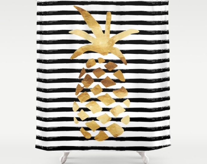 "Shower Curtain - Pineapple and Stripes - Gold Black and White - 71""x74"" - Bath Curtain Bathroom Decor Accessories"
