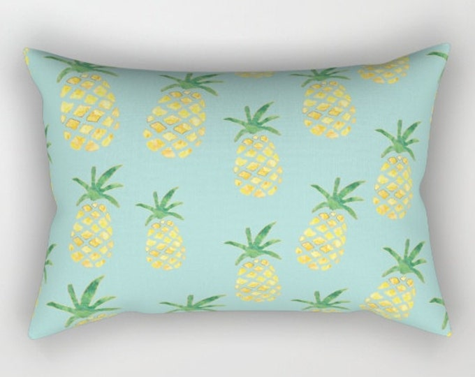Lumbar Throw Pillow - Pineapple Print on Mint - Yellow Green and Gold - Rectangle Cover and Insert - 17x12 20x14 25.5x18 28x20