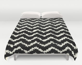 Duvet Cover or Comforter - Ragged Chevron Stripes - Gray Black Blush or Taupe - Twin XL Full Queen or King - Bedroom Bed
