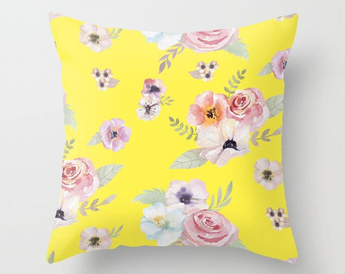 Throw Pillow - Watercolor Floral I - Bright Yellow Pink - Square Cover with Insert - 16x16 18x18 20x20 24x24