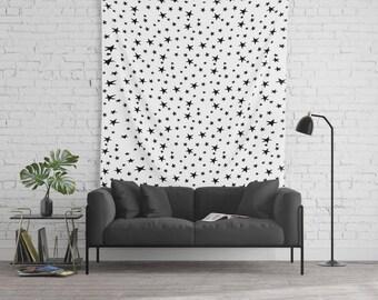 Wall Tapestry - Mini Star Print - Black on White - Small Medium or Large - Bedroom Decor Accessories Dorm Nursery Playroom