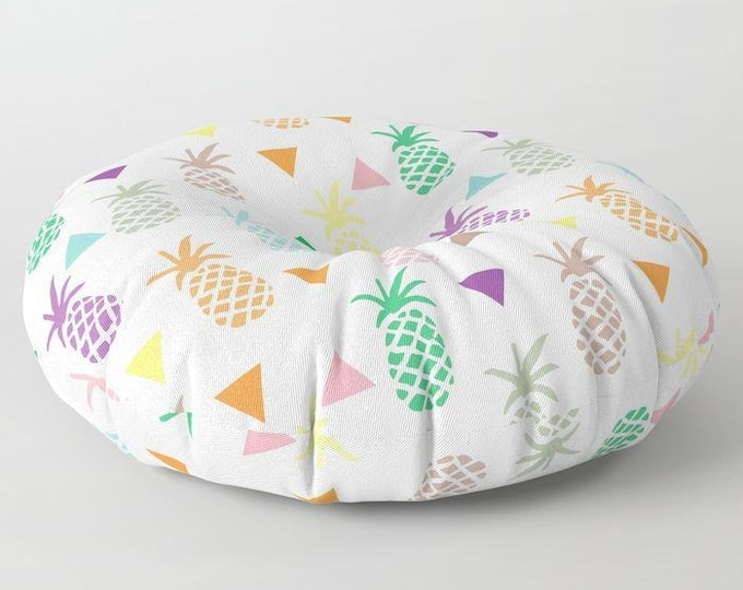 "Oversized Floor Pillow - Multi Color Pineapples & Triangles Print - Rainbow Pastels - Round or Square - 26"" or 30"" - Throw Poof Pouf Cushion"