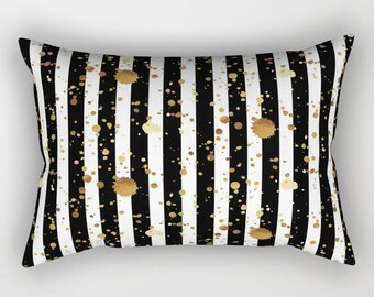 Lumbar Throw Pillow - Stripes and Paint Splatter - Black White Gold - Rectangle Cover and Insert - 17x12 20x14 25.5x18 28x20