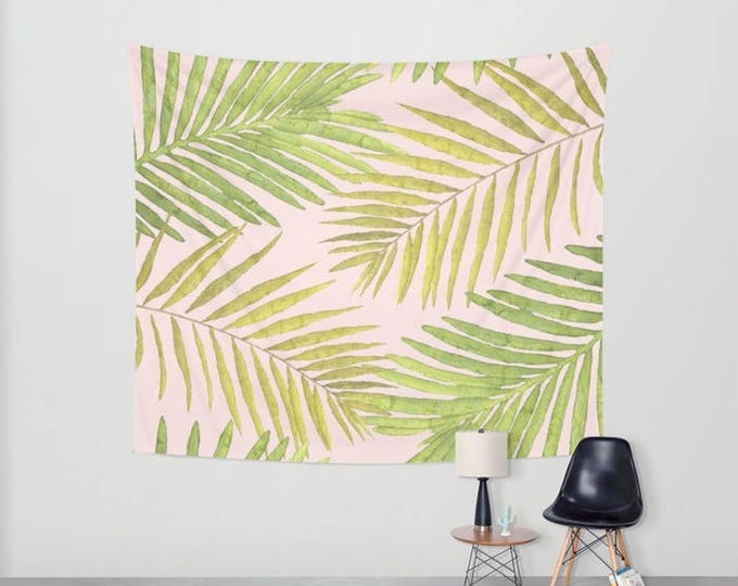 Wall Tapestry - Palms Against Blush - Pink Green Yellow - Small Medium or Large - Bedroom Decor Accessories Dorm Nursery Playroom