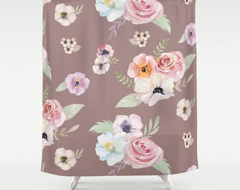 """Shower Curtain - Watercolor Floral I - Cocoa Brown Pink - 71""""x74"""" - Bath Curtain Bathroom Decor Accessories - Optional: Bundle with Bath Mat"""