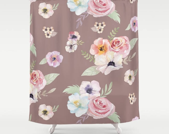 "Shower Curtain - Watercolor Floral I - Cocoa Brown Pink - 71""x74"" - Bath Curtain Bathroom Decor Accessories - Optional: Bundle with Bath Mat"